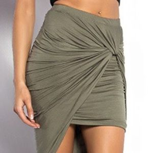 Olive green high-low knot skirt